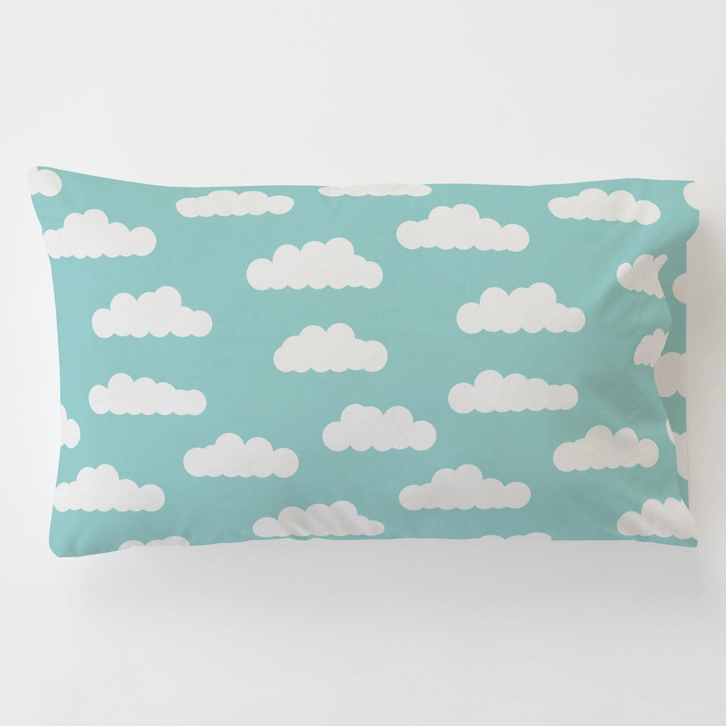 Product image for Seafoam Aqua Clouds Toddler Pillow Case