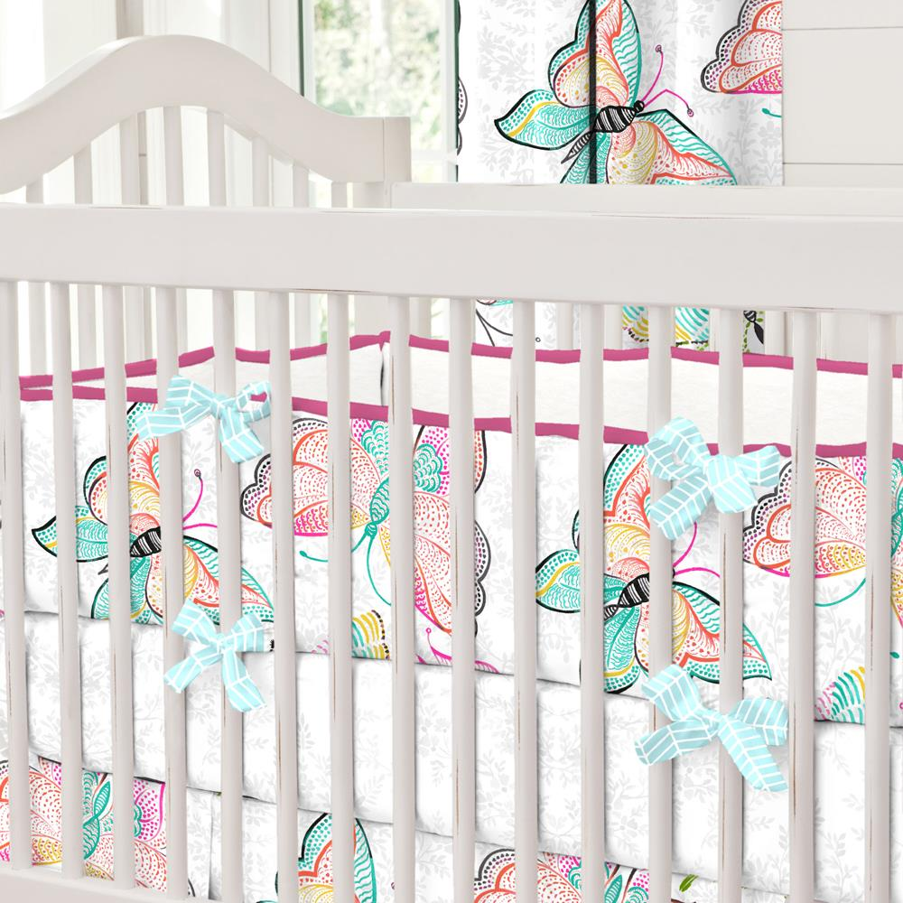 Product image for Bright Damask Butterflies Crib Bumper