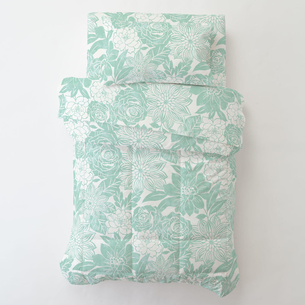 Product image for Mint Modern Blooms Toddler Pillow Case with Pillow Insert