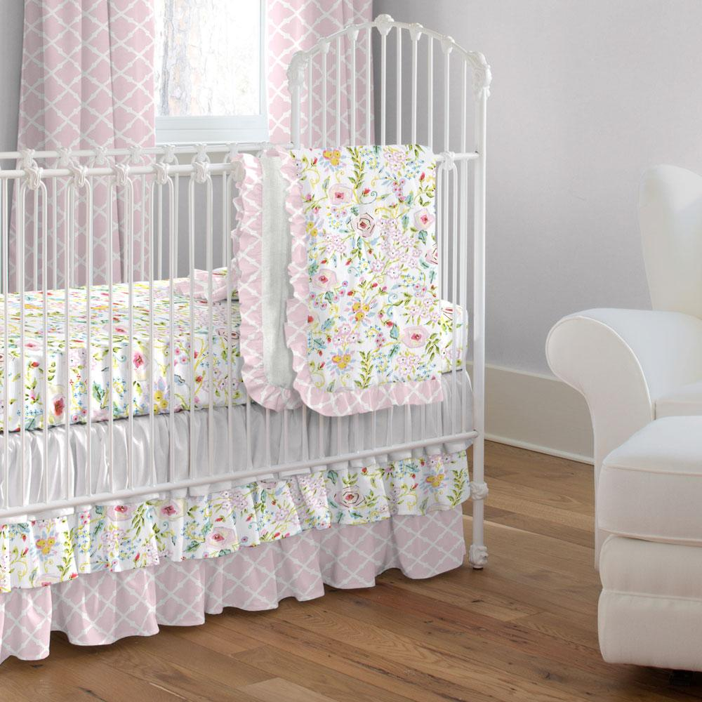 Product image for Pink Primrose Crib Skirt 3-Tiered