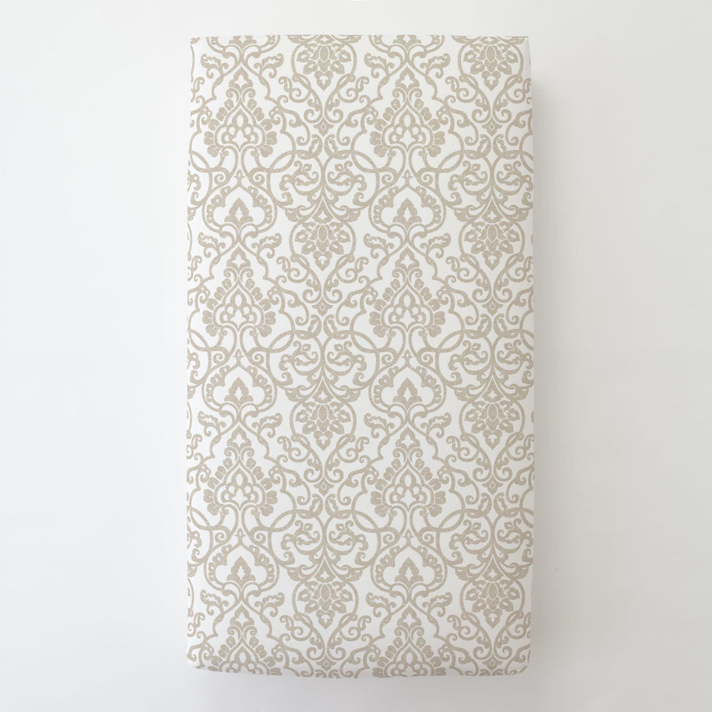 Product image for Taupe Filigree Toddler Sheet Bottom Fitted