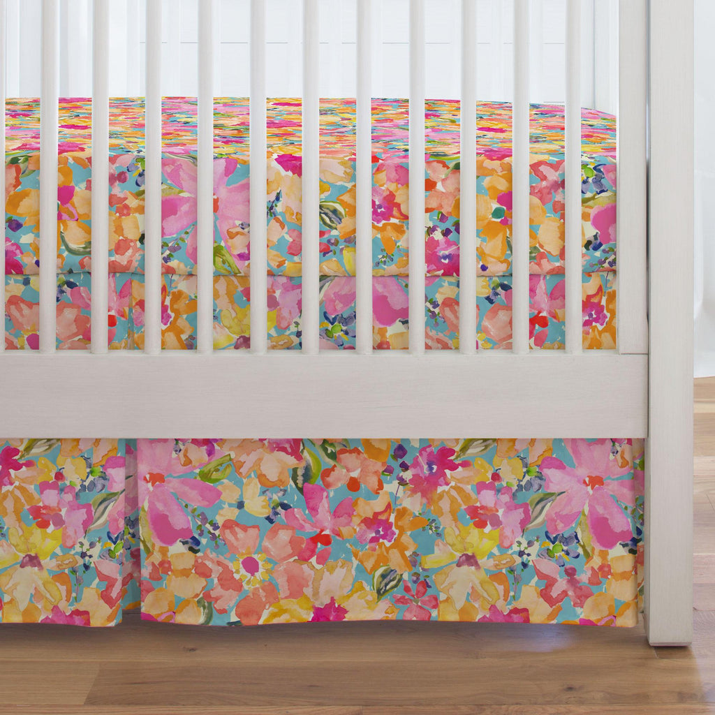 Product image for Coral Flower Bouquet Crib Skirt Single-Pleat