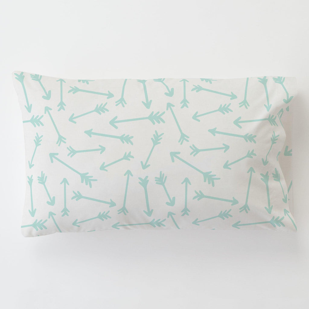 Product image for Icy Mint Whimsical Arrows Toddler Pillow Case