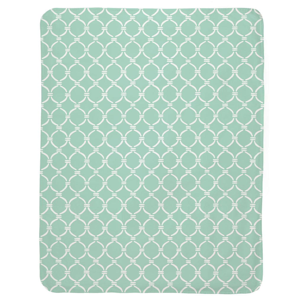Product image for Mint and White Lattice Circles Baby Blanket