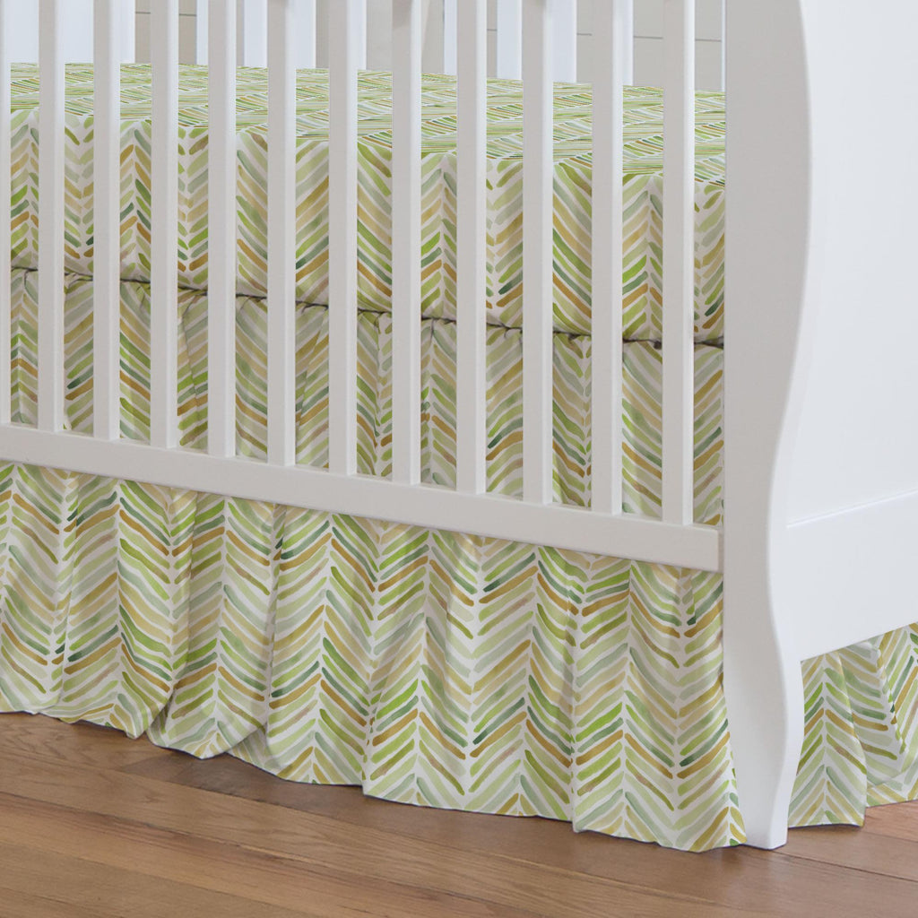 Product image for Green Painted Chevron Crib Skirt Gathered