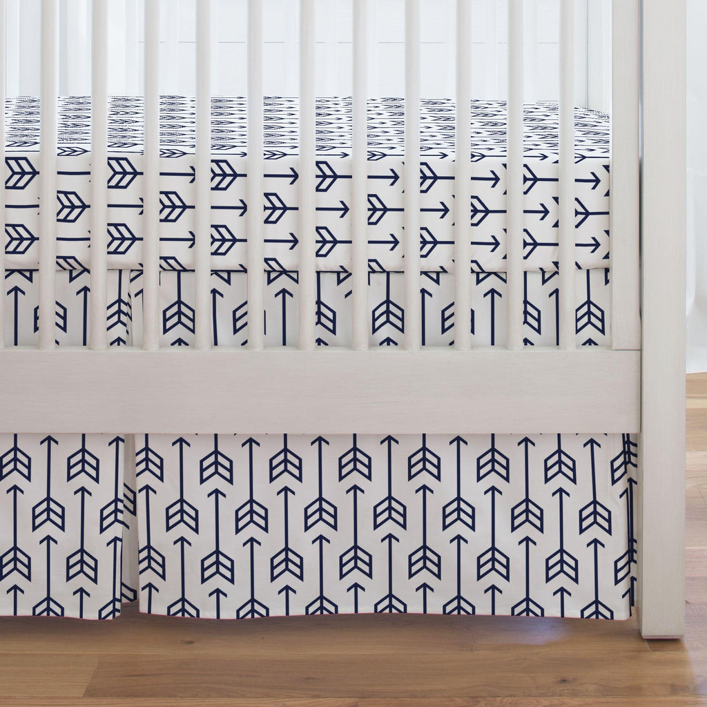 Product image for Navy Arrow Crib Skirt Single-Pleat