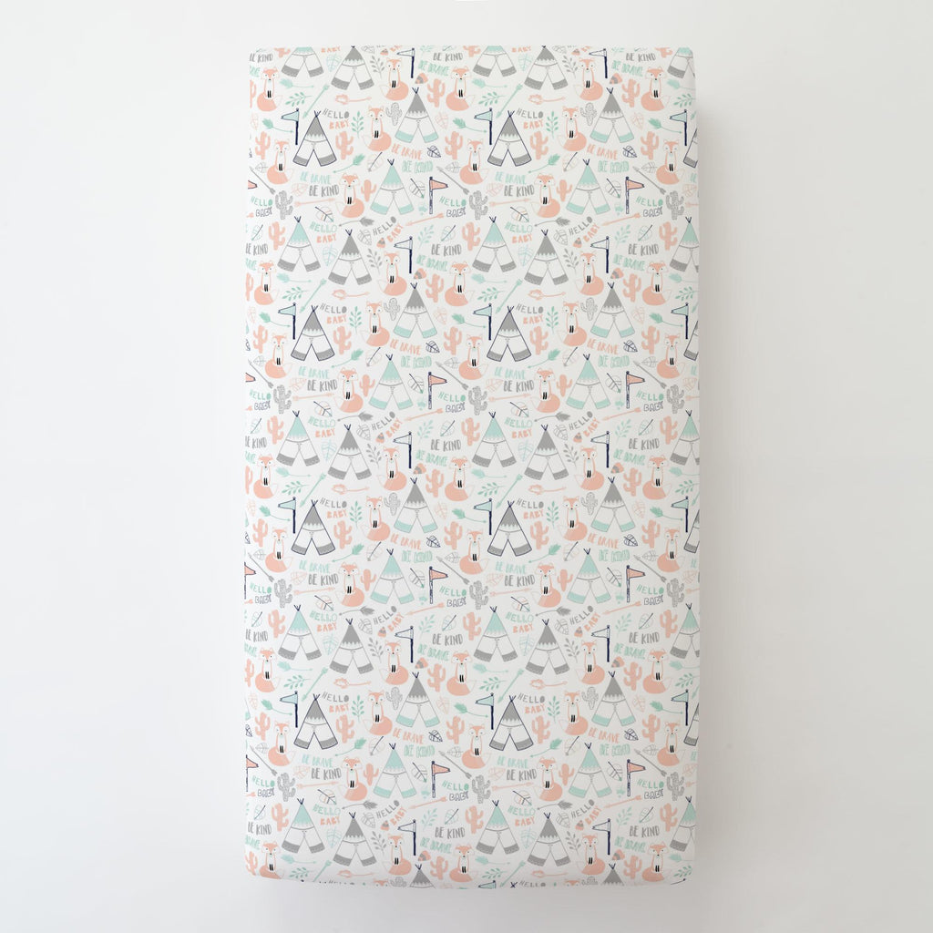 Product image for Peach Brave Fox Toddler Sheet Bottom Fitted