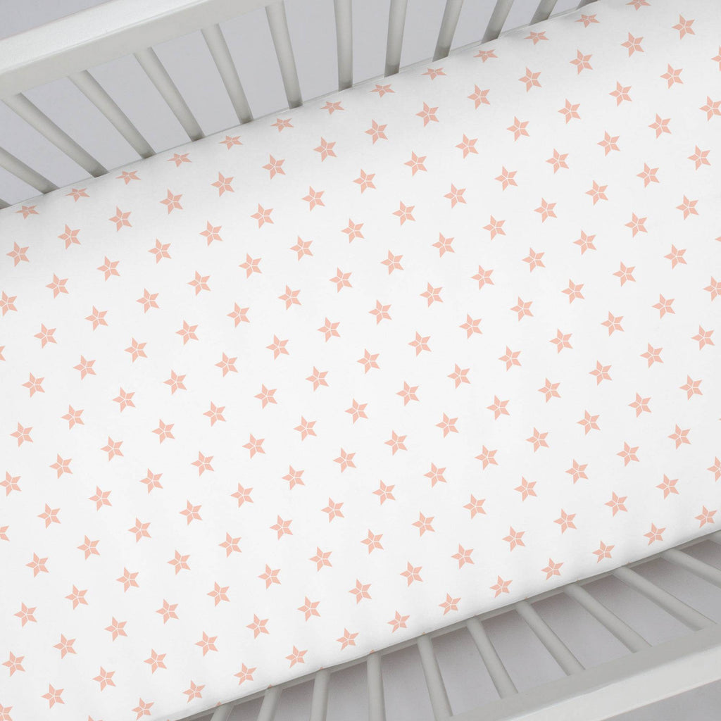 Product image for Peach Mosaic Stars Crib Sheet