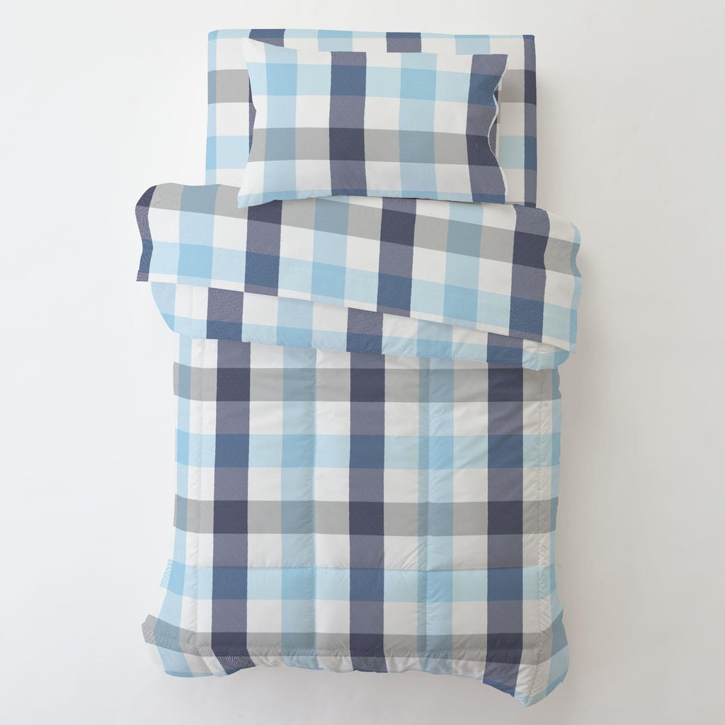 Product image for Navy and Lake Blue Buffalo Check Toddler Comforter