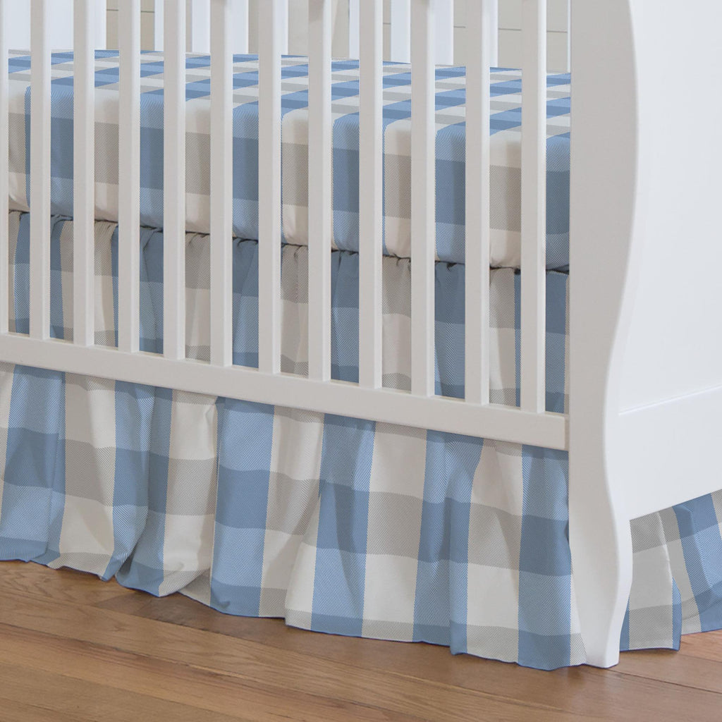Product image for Blue and Silver Gray Buffalo Check Crib Skirt Gathered