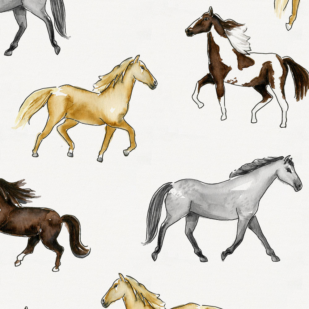 Product image for Watercolor Horses Drape Panel