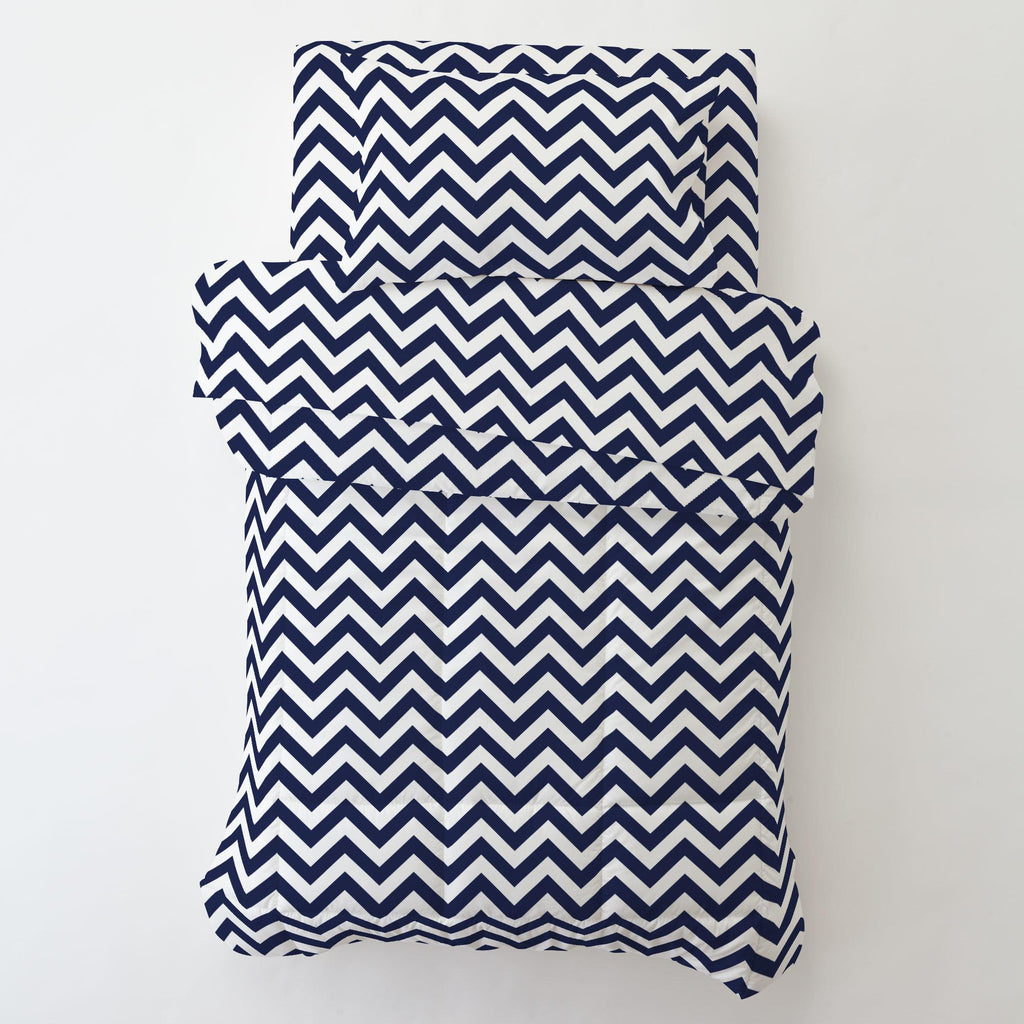 Product image for White and Navy Zig Zag Toddler Comforter
