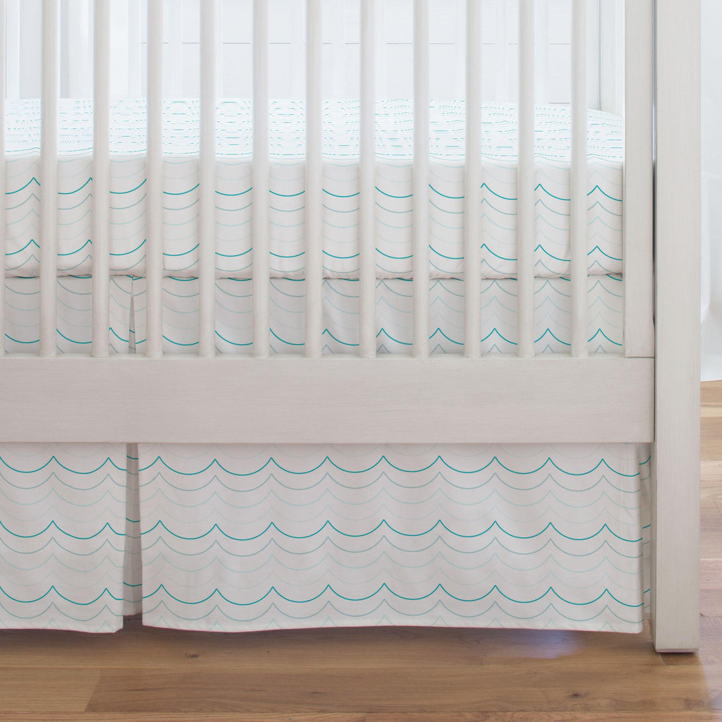 Product image for Teal Wave Stripe Crib Skirt Single-Pleat