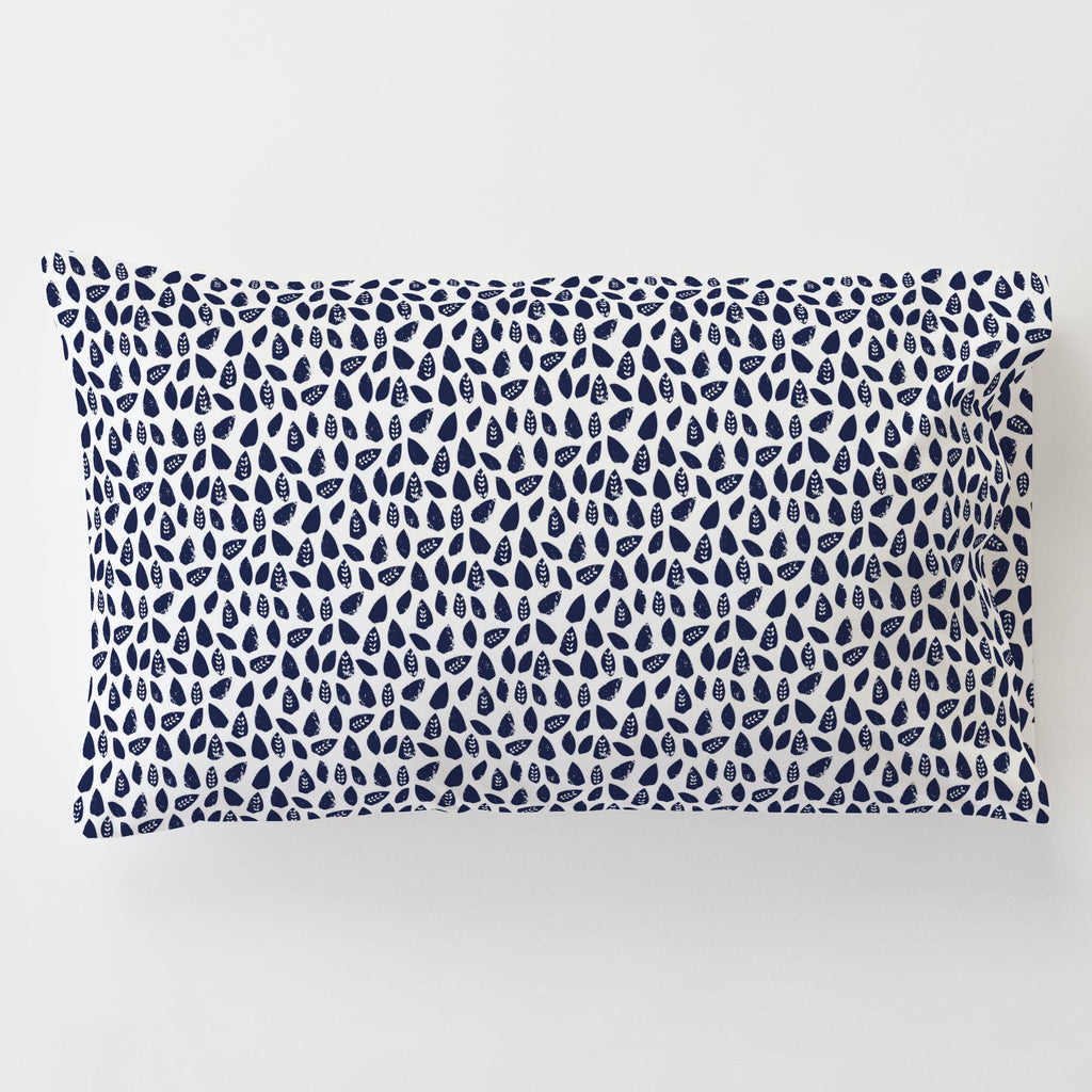 Product image for Navy Woodland Leaf Toddler Pillow Case