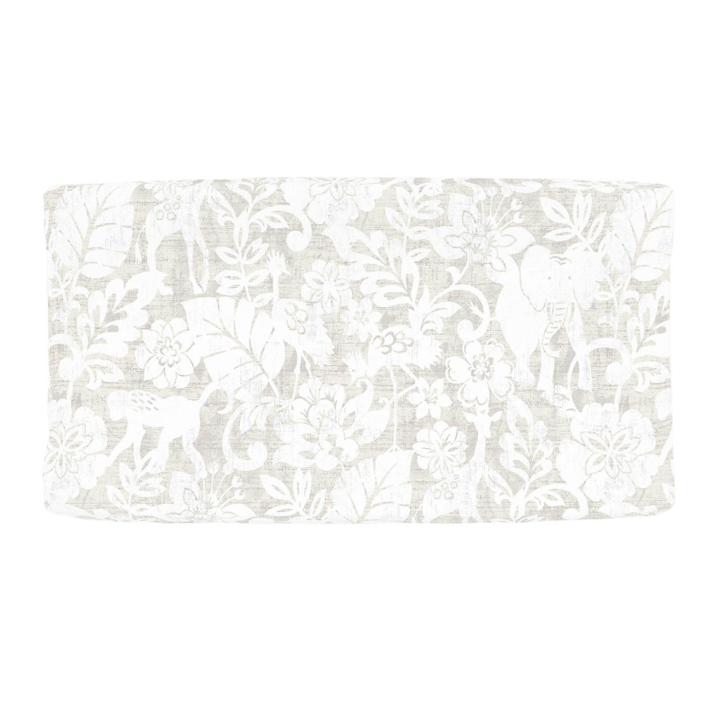 Product image for French Gray and White Jungle Changing Pad Cover