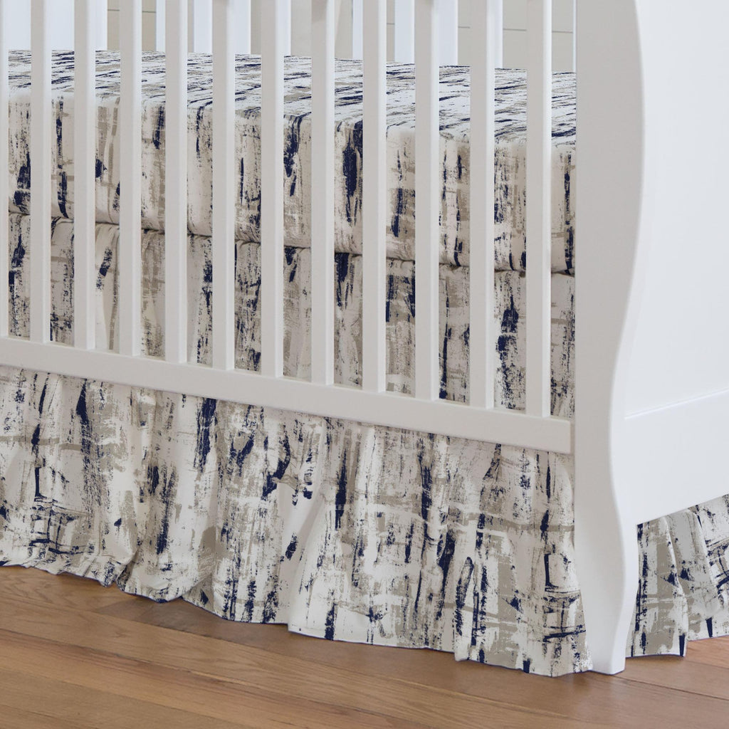Product image for Navy and Taupe Birch Crib Skirt Gathered