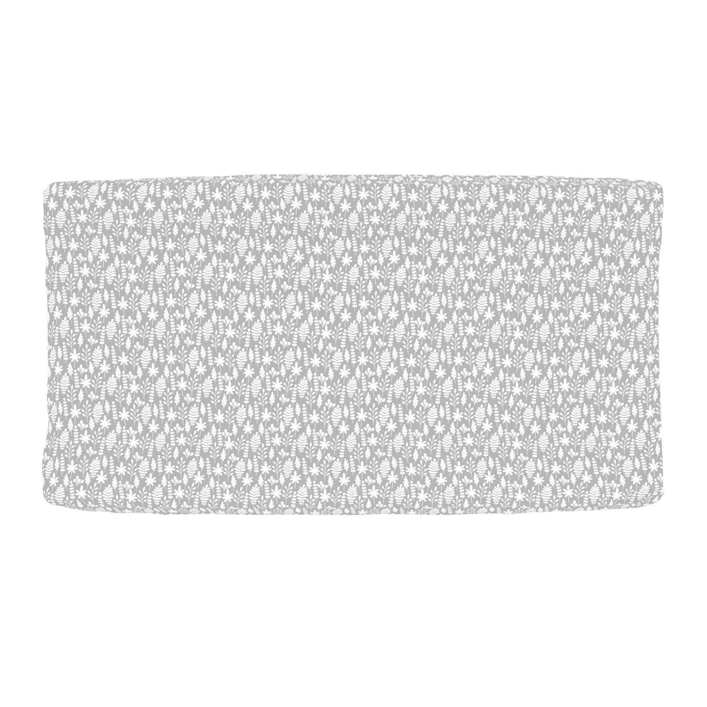 Product image for Gray and White Ferns Changing Pad Cover