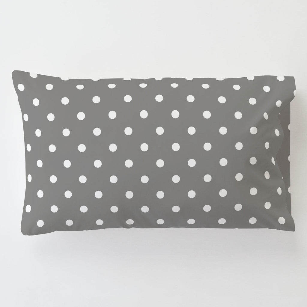 Product image for Gray and White Polka Dot Toddler Pillow Case