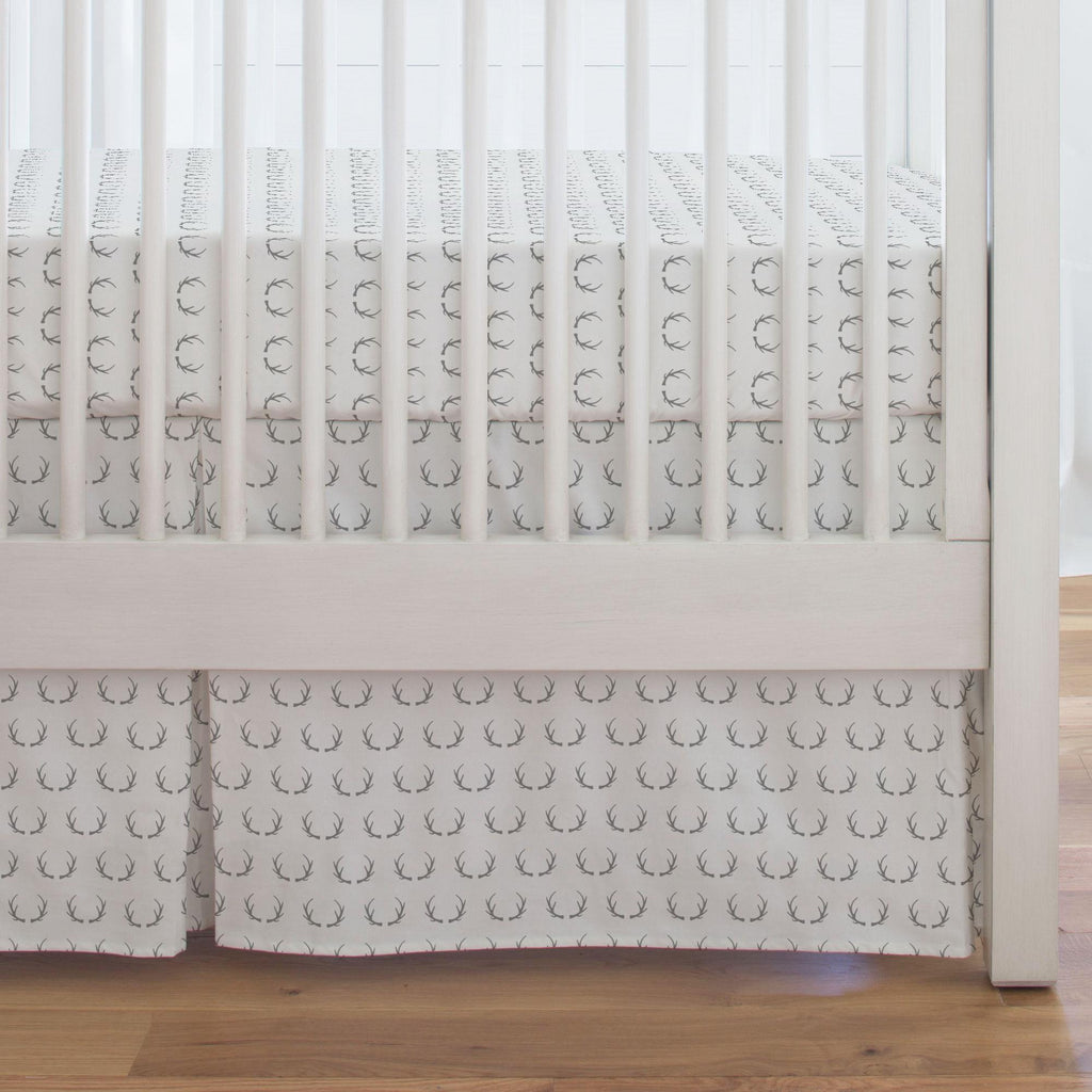Product image for Silver Gray Antlers Crib Skirt Single-Pleat