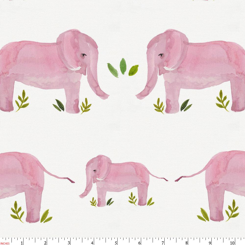 Product image for Pink Painted Elephants Fabric