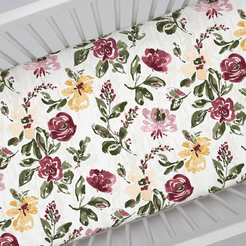 Product image for Merlot Garden Crib Sheet