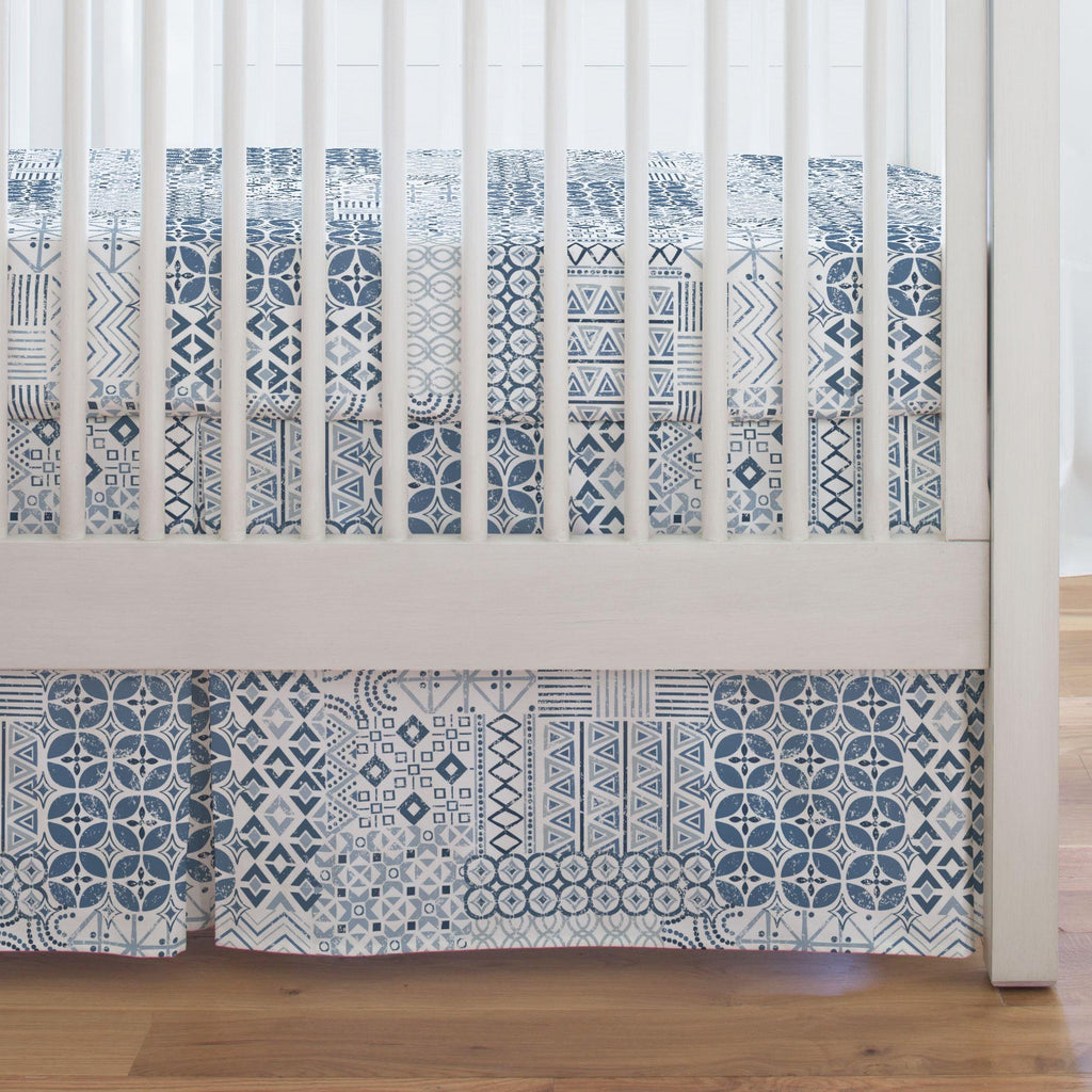 Product image for Denim Patchwork Crib Skirt Single-Pleat