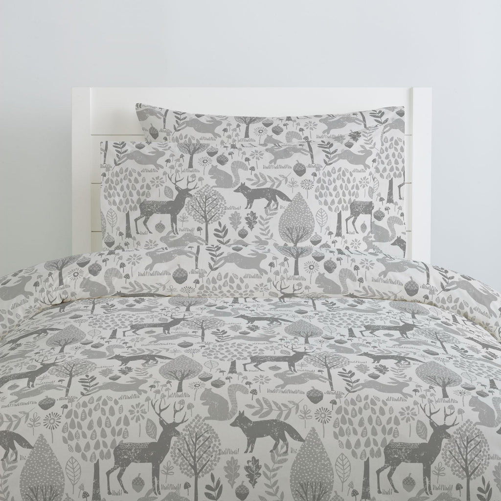Product image for Gray Woodland Animals Pillow Case
