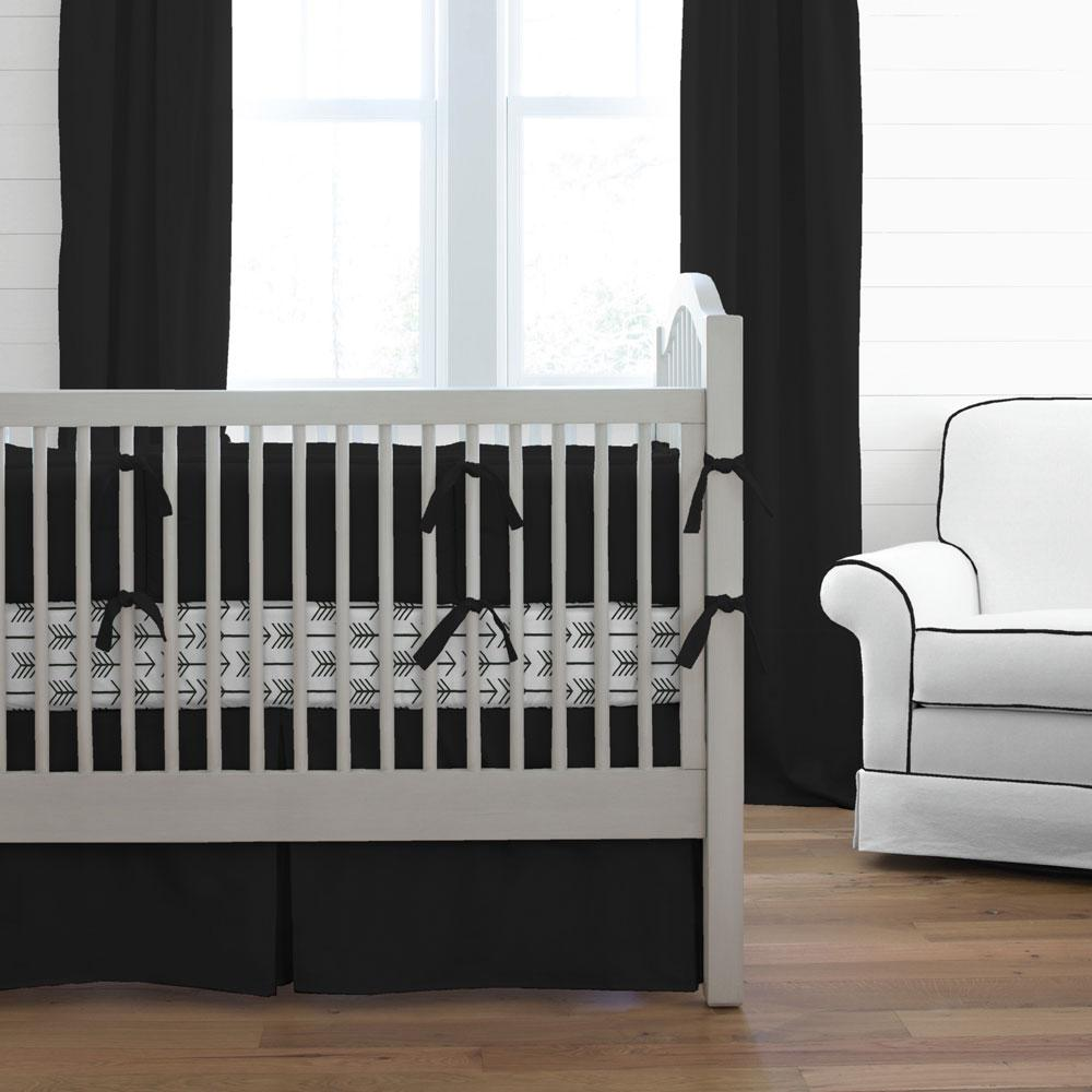 Product image for Solid Black Crib Comforter with Piping
