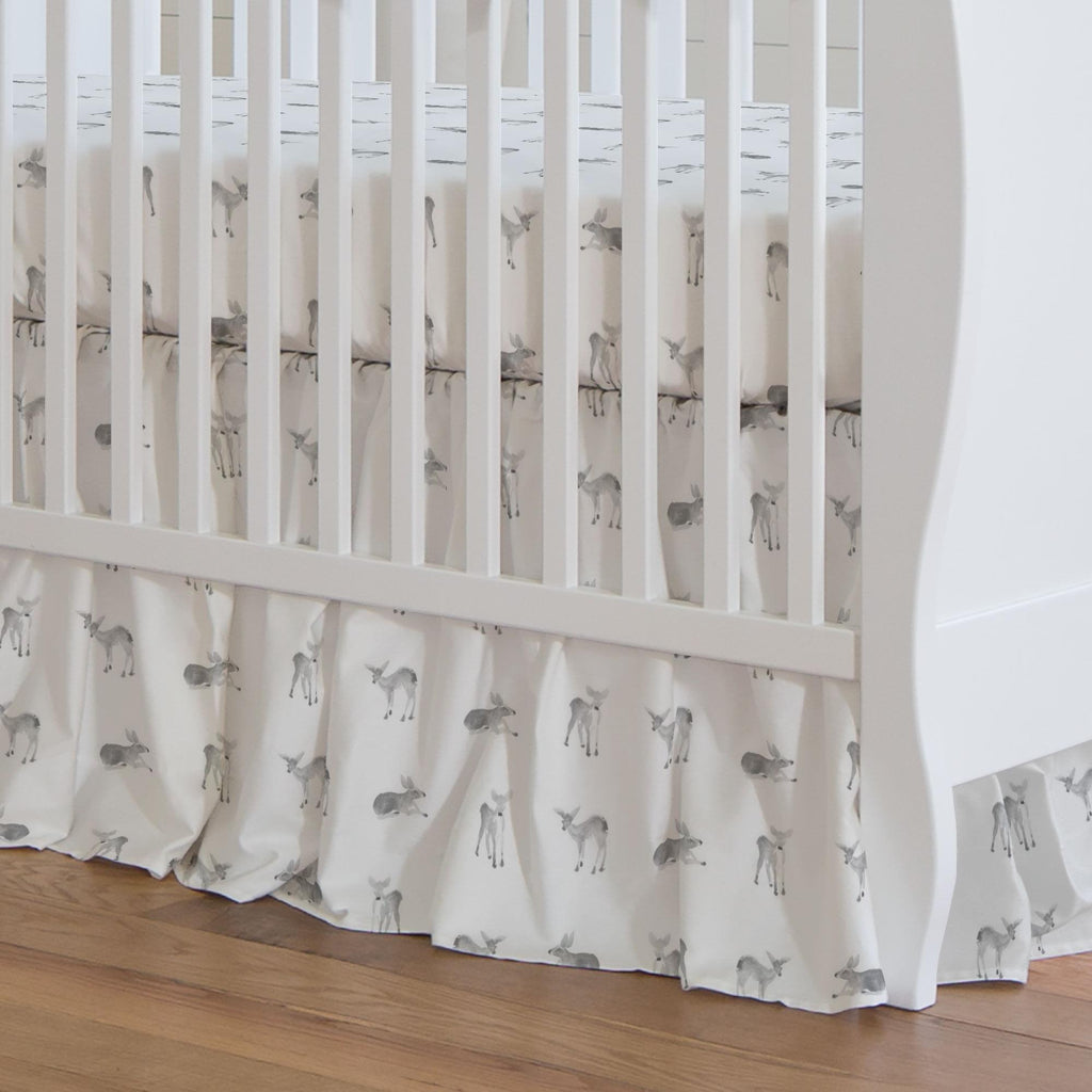 Product image for Silver Gray Fawns Crib Skirt Gathered
