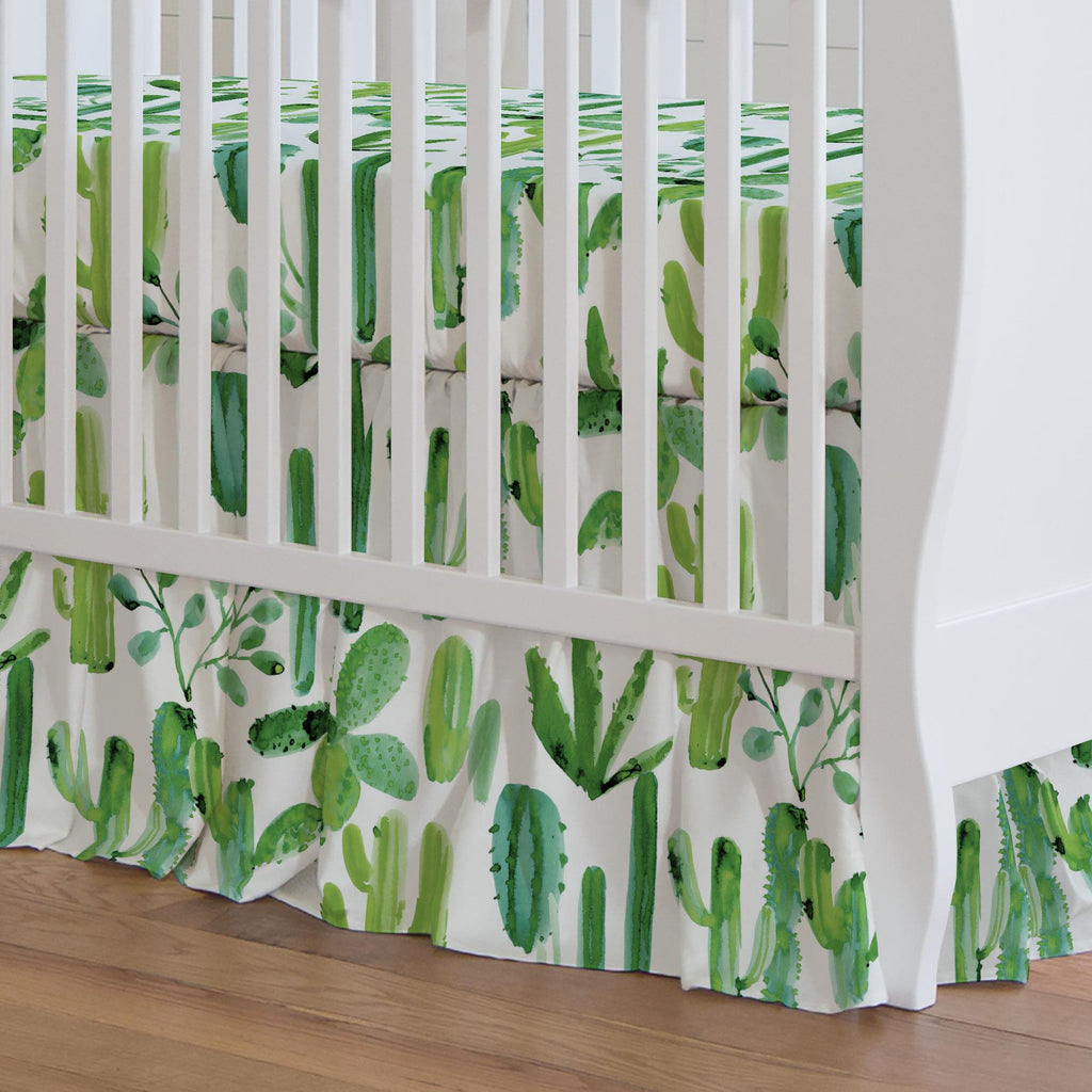 Product image for Green Painted Cactus Crib Skirt Gathered