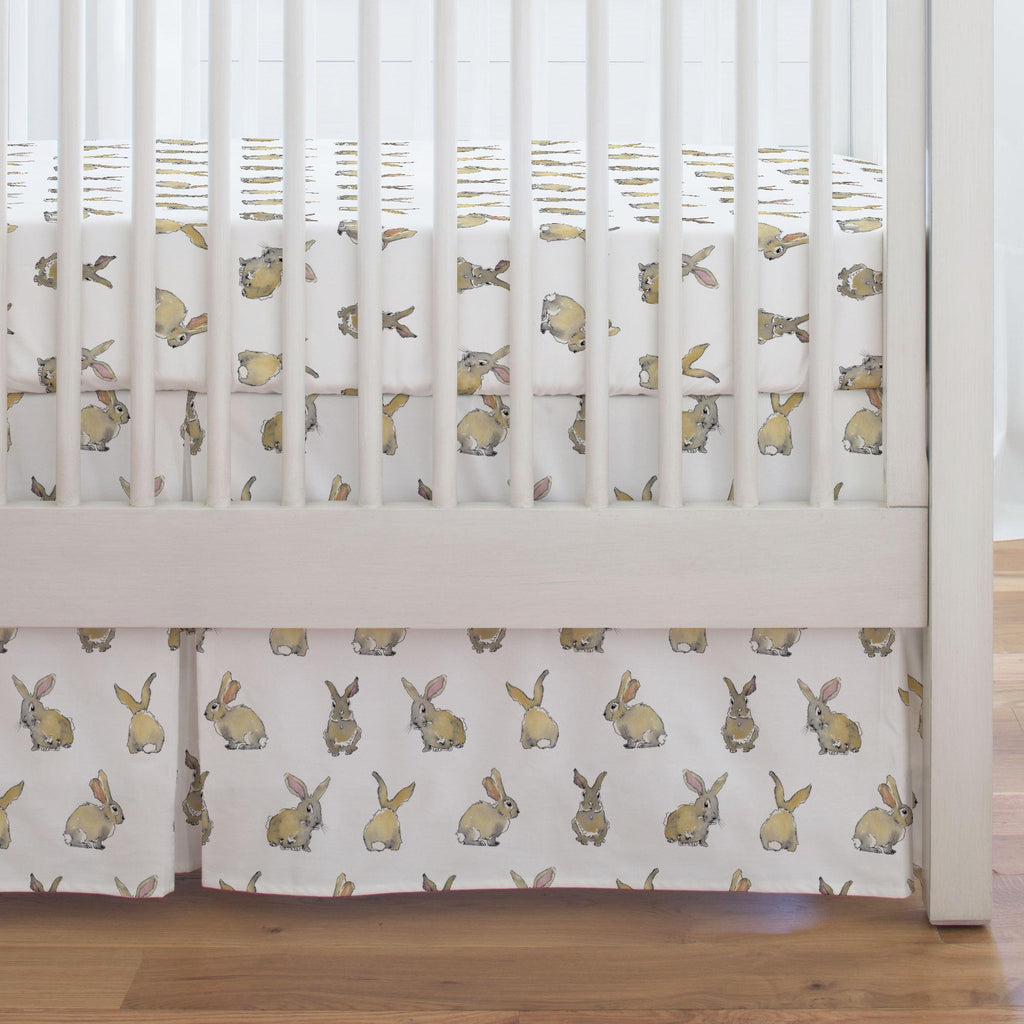 Product image for Watercolor Rabbits Crib Skirt Single-Pleat