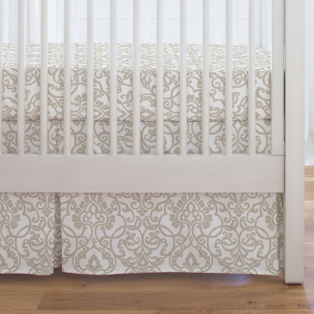 Product image for Taupe Filigree Crib Skirt Single-Pleat