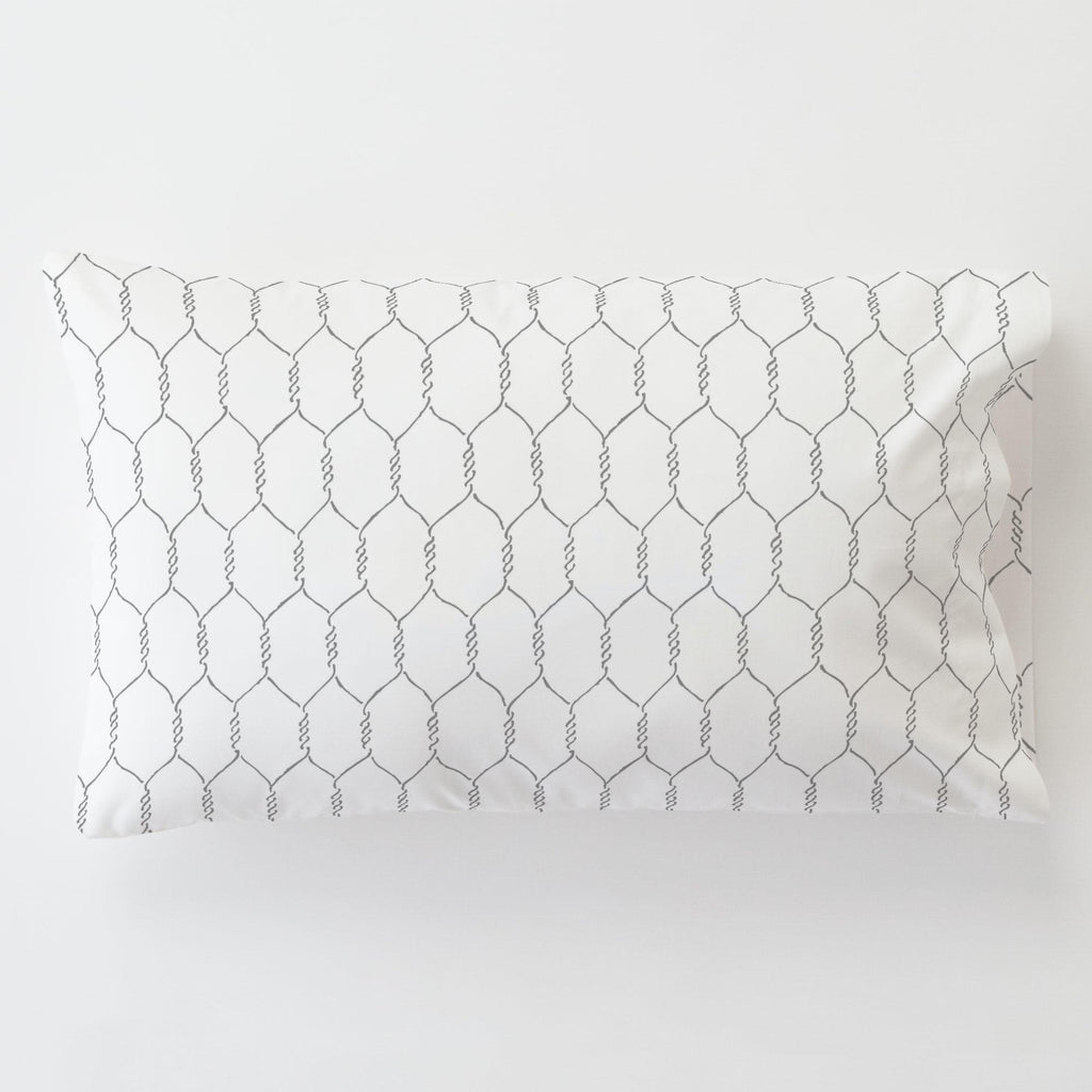 Product image for Gray Farmhouse Wire Toddler Pillow Case