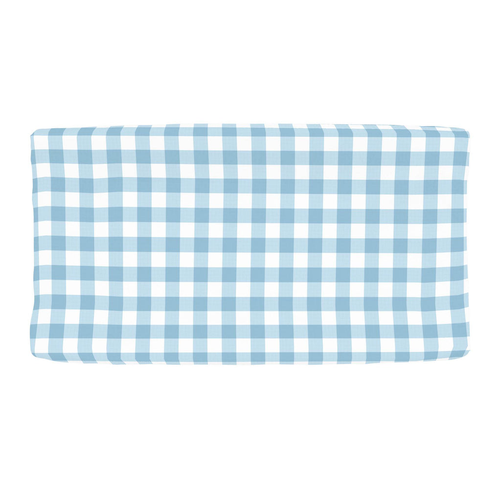 Product image for Lake Blue Gingham Changing Pad Cover
