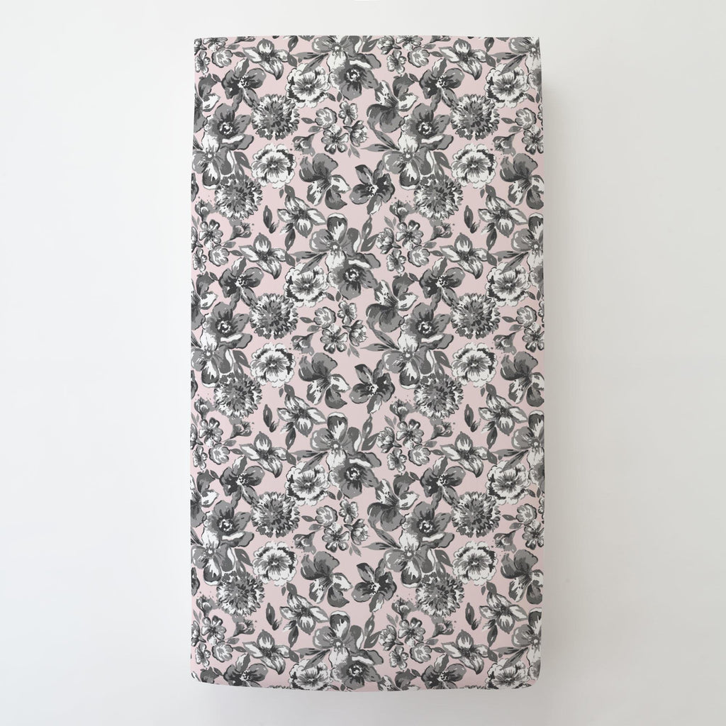 Product image for Pink and Gray Floral Toddler Sheet Bottom Fitted