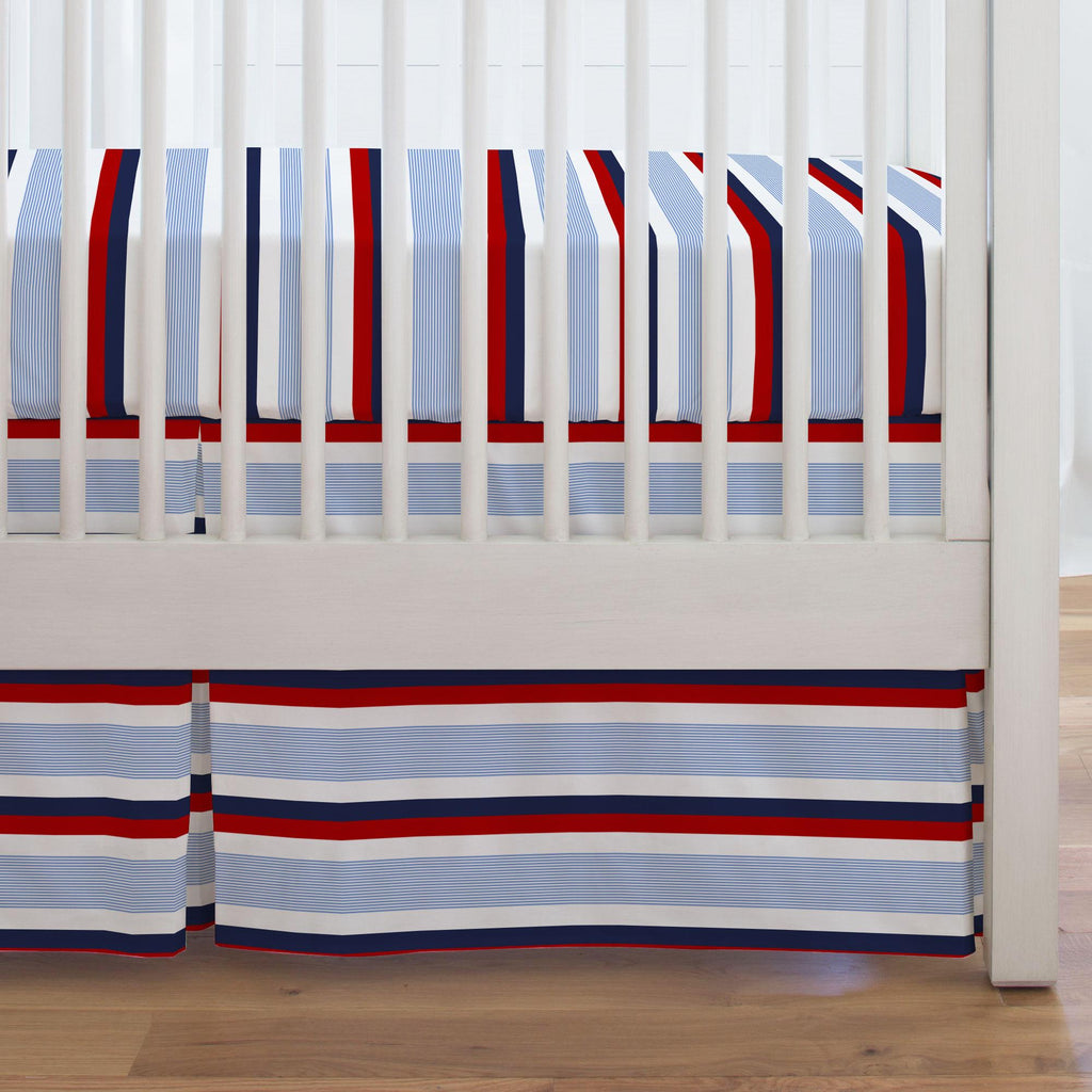 Product image for Red and Blue Stripe Crib Skirt Single-Pleat