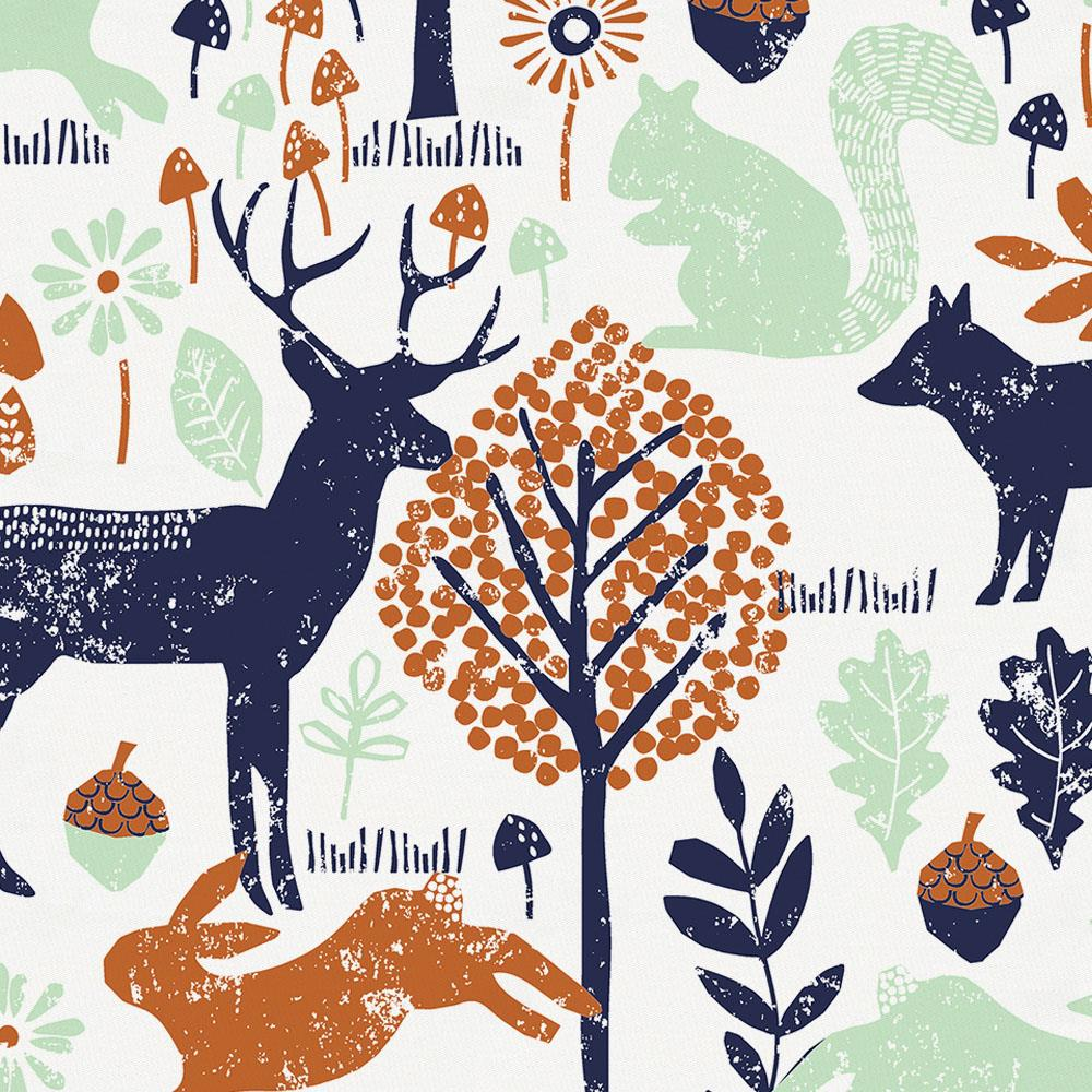 Product image for Navy and Orange Woodland Animals Baby Play Mat