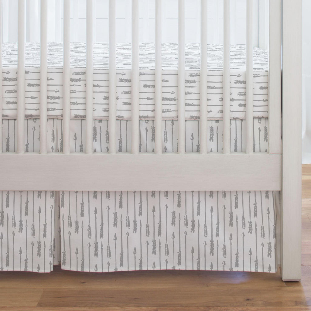 Product image for Silver Gray Hand Drawn Arrow Crib Skirt Single-Pleat