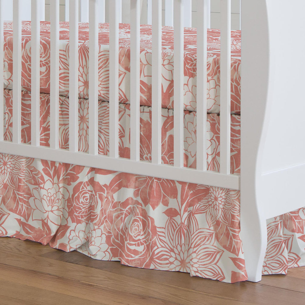 Product image for Light Coral Modern Blooms Crib Skirt Gathered
