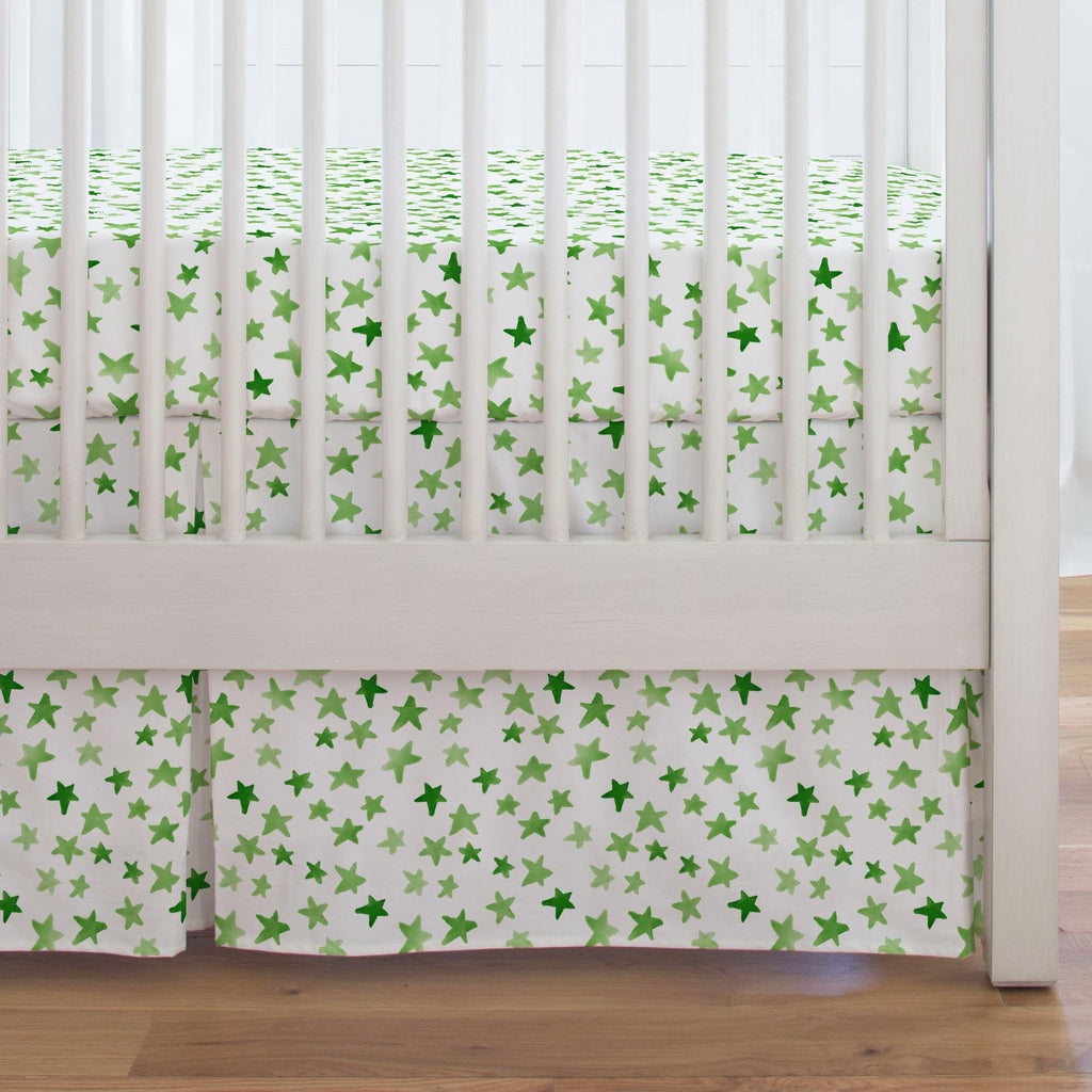 Product image for Green Watercolor Stars Crib Skirt Single-Pleat