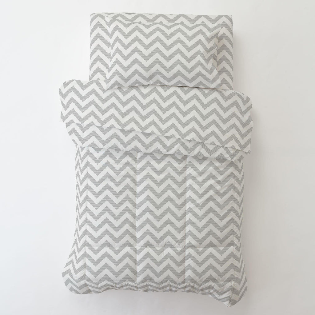 Product image for White and Silver Gray Chevron Toddler Pillow Case with Pillow Insert