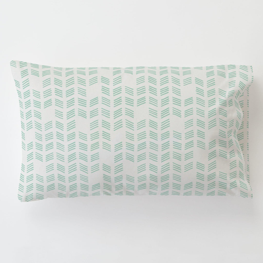 Product image for Mint Tribal Herringbone Toddler Pillow Case