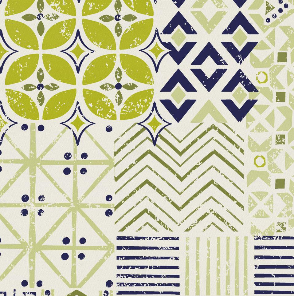 Product image for Citron and Navy Patchwork Drape Panel