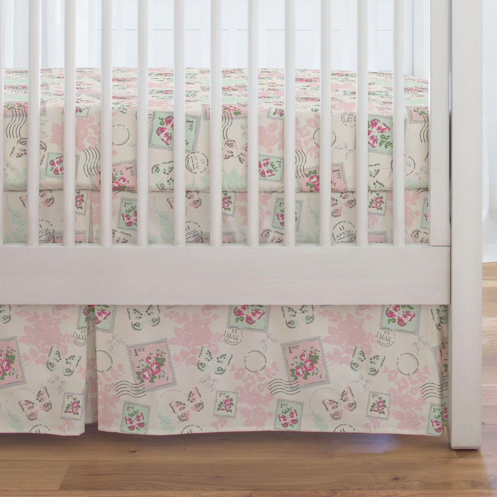 Product image for Blush and Ivory Vintage Stamp Crib Skirt Single-Pleat