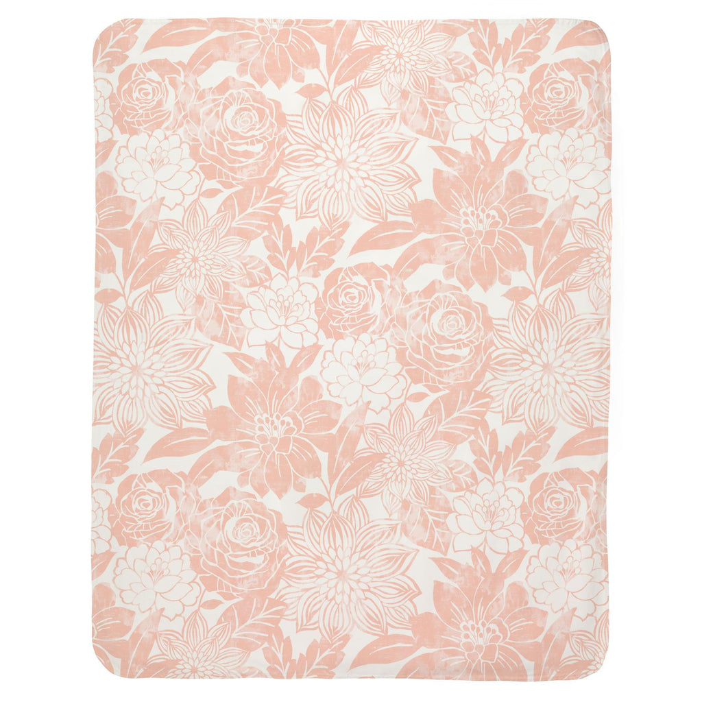 Product image for Peach Modern Blooms Baby Blanket