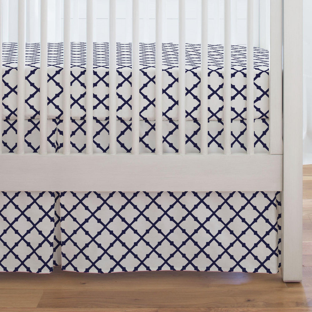Product image for Windsor Navy Lattice Crib Skirt Single-Pleat