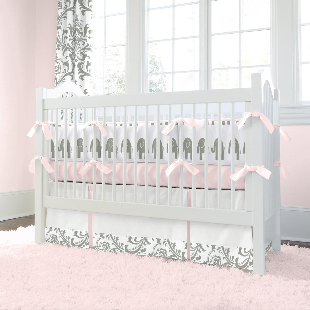 Product image for Pink and Gray Elephants Crib Bumper