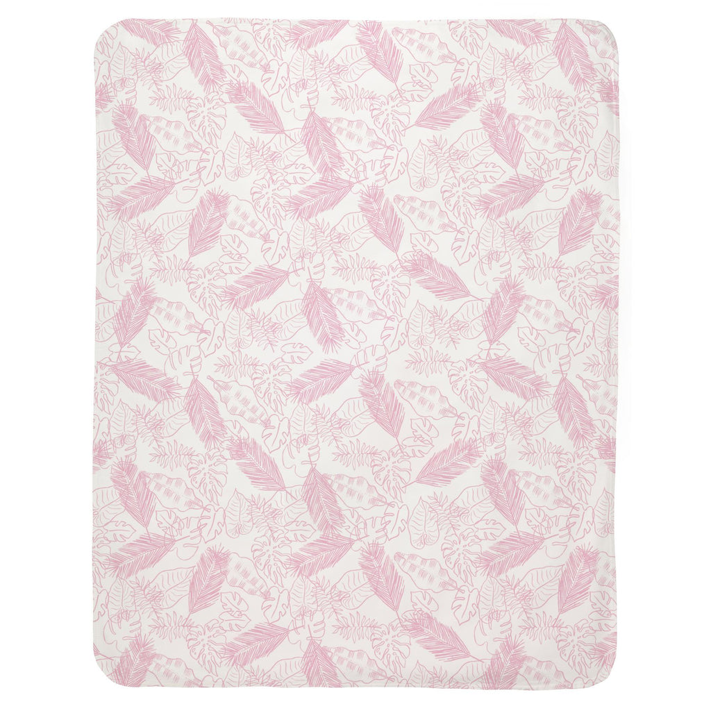 Product image for Bubblegum Palm Leaves Baby Blanket