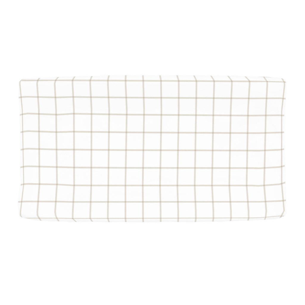 Product image for Taupe Windowpane Changing Pad Cover