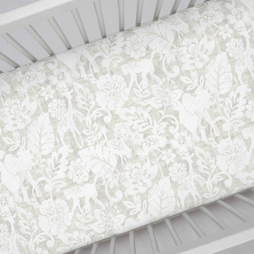 Product image for French Gray and White Jungle Crib Sheet